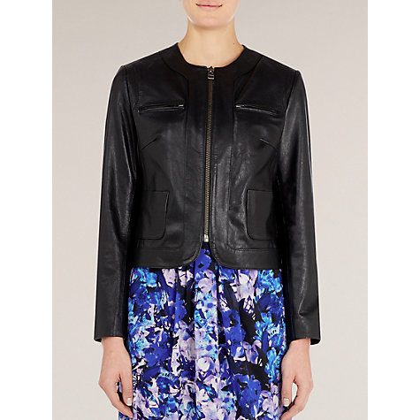 Buy Kaliko Collarless Leather Jacket, Black Online at johnlewis.com
