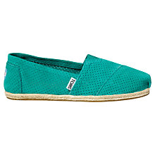 Buy TOMS Season Classic Perforated Suede Plimsolls, Green Online at johnlewis.com