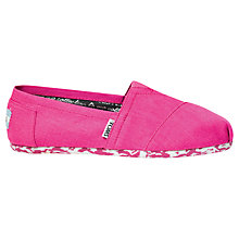 Buy TOMS Earthwise Classic Canvas Plimsolls, Pink Online at johnlewis.com