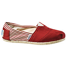 Buy TOMS Classic University Stripe Mix Plimsolls Online at johnlewis.com