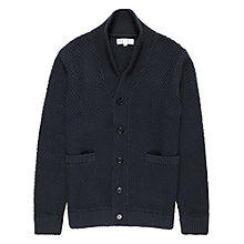Buy Reiss Molton Button Shawl Collar Cardigan, Indigo Online at johnlewis.com