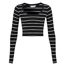 Buy Miss Selfridge Striped Scoop Neck Top, Multi Online at johnlewis.com