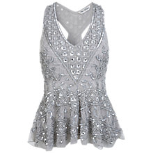 Buy Miss Selfridge Linear Fishtail Top, Silver Online at johnlewis.com