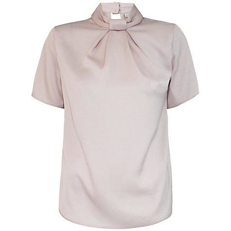 Buy Almari Pleat Neck Collar Blouse, Pink Online at johnlewis.com