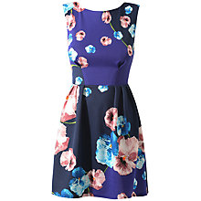 Buy Closet V-Back Floral Dress, Blue Online at johnlewis.com