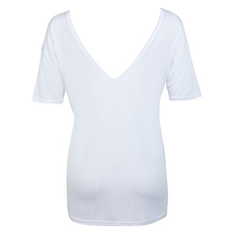 Buy Miss Selfridge Double V T-Shirt, White Online at johnlewis.com