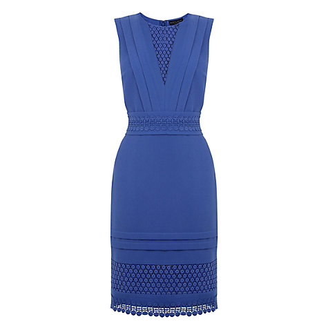 Buy Warehouse Crochet Lace Panel Dress, Bright Blue Online at johnlewis.com