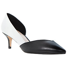 Buy Dune Catey Leather Court Shoes, Black / White Online at johnlewis.com