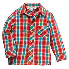 Buy John Lewis Check Flannel Shirt, Red/Turquoise Online at johnlewis.com