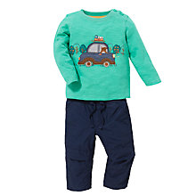 Buy John Lewis Campervan Print T-Shirt & Trousers Set, Green/Navy Online at johnlewis.com