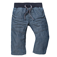 Buy John Lewis Rib Waistband Chambray Trousers, Blue Online at johnlewis.com