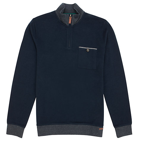 Buy Ted Baker Bevyhil Zipped Jersey Top, Navy Online at johnlewis.com
