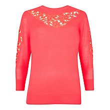 Buy Ted Baker Talula Embroidered Lace Stitch Jumper, Bright Pink Online at johnlewis.com