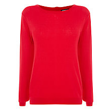 Buy Warehouse Lightweight Long Zip Back Jumper, Bright Red Online at johnlewis.com