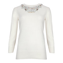 Buy Ted Baker Blithe Embellished Neckline Jumper, Cream Online at johnlewis.com