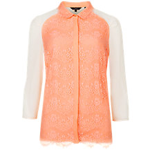 Buy Ted Baker Abra Lace Bib Long Sleeve Top, Nude Pink Online at johnlewis.com