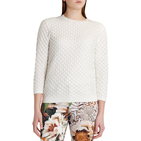 Buy Ted Baker Yayoi Bobble Stitch Detailed Jumper, Cream Online at johnlewis.com