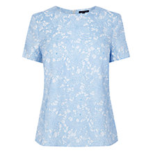 Buy Warehouse Jacquard Floral Print T-Shirt, Light Blue Online at johnlewis.com