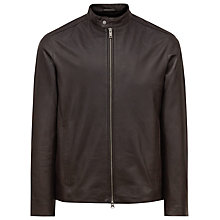 Buy Reiss Tyler Lightweight Leather Jacket, Brown Online at johnlewis.com