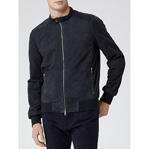 Buy Reiss Cramont Perforated Leather Jacket, Navy Online at johnlewis.com