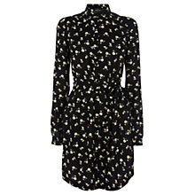 Buy Warehouse Floral Long Sleeve Shirt Dress, Black Online at johnlewis.com