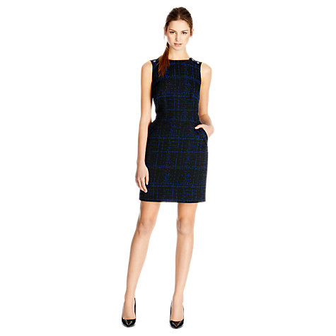 Buy Warehouse Pattern Tweed Dress, Black Online at johnlewis.com