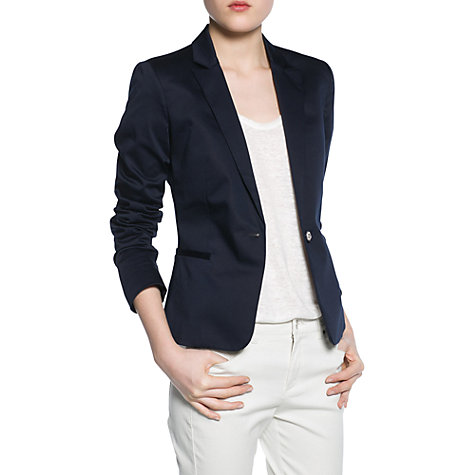 Buy Mango Engraved Button Blazer, Navy Online at johnlewis.com