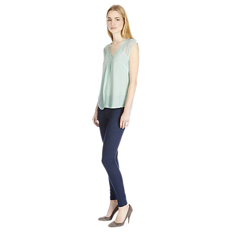 Buy Warehouse Airtex Mix Top, Mint Online at johnlewis.com