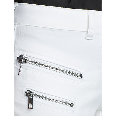 Buy Mango Super Slim Fit Zip Detail Jeans, White Online at johnlewis.com