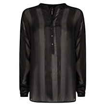 Buy Mango Striped Textured Blouse, Black Online at johnlewis.com