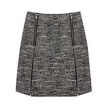 Buy Warehouse Double Zip Tweed Skirt, Dark Grey Online at johnlewis.com