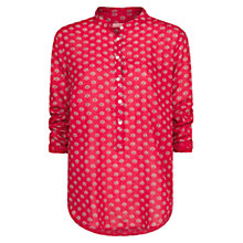 Buy Mango Printed Mao Collar Blouse, Bright Red Online at johnlewis.com