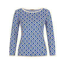 Buy Jigsaw Teardrop Jacquard Sweater, Blue Online at johnlewis.com