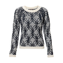 Buy Jigsaw Cotton Twine Cable Sweater, Navy Online at johnlewis.com