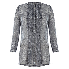 Buy Jigsaw Caline Print Silk Blouse, Navy Online at johnlewis.com