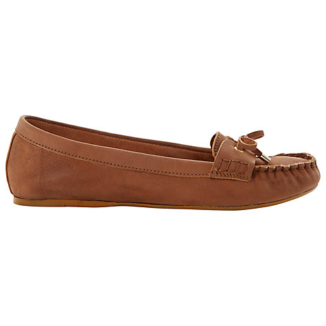 Buy Dune Lavine Bow Lace Up Leather Moccasin, Tan Online at johnlewis.com