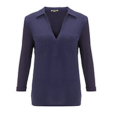 Buy Jigsaw Cotton Slub Silk Front Jersey Shirt Online at johnlewis.com
