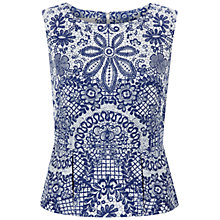 Buy Hobbs Invitation Rosetta Top, Bright Blue Multi Online at johnlewis.com