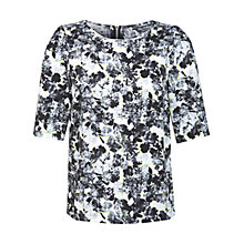 Buy Miss Selfridge Floral 3/4 Sleeve Top, Multi Black Online at johnlewis.com