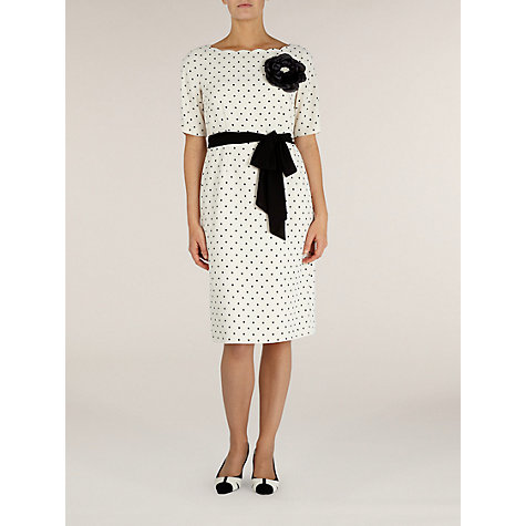 Buy Jacques Vert Spot Print Shift Dress, Cream/Black Online at johnlewis.com