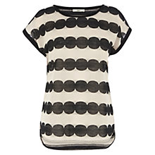Buy Oasis Scallop Lace Stripe T-Shirt, Multi Black Online at johnlewis.com