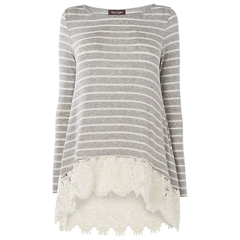 Buy Phase Eight Striped Laced Hem Top, Grey/Ivory Online at johnlewis.com