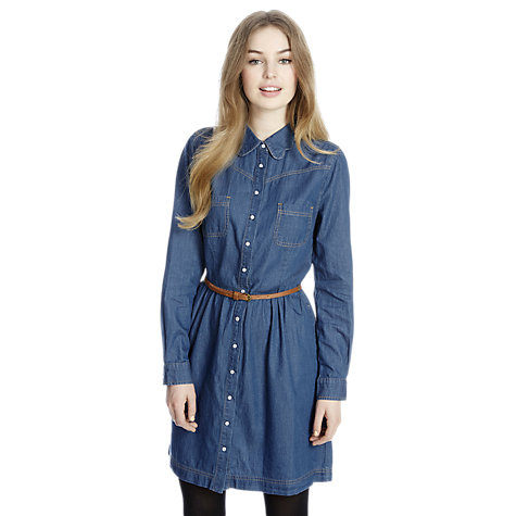 Buy Oasis Scallop Shirt Dress, Denim Online at johnlewis.com