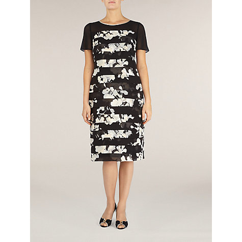 Buy Jacques Vert Print Tiered Dress, Black Online at johnlewis.com