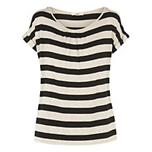 Buy Oasis Stripe Gathered T-Shirt, Multi Black Online at johnlewis.com
