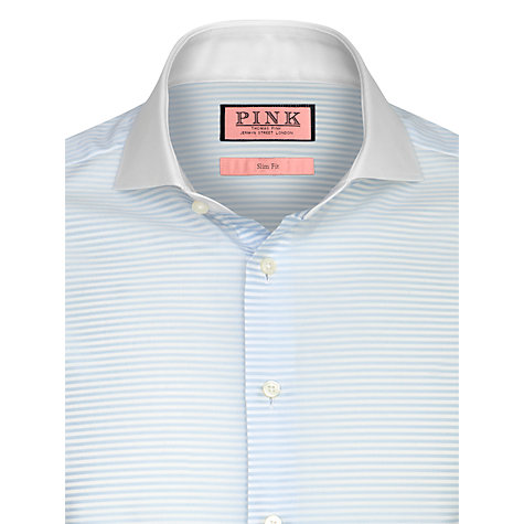 Buy Thomas Pink Greathall Double Cuff Stripe Shirt, Pale Blue/White Online at johnlewis.com