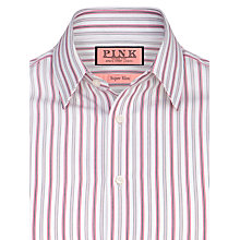 Buy Thomas Pink Povey Stripe Super Slim Long Sleeve Shirt, Pink/White Online at johnlewis.com