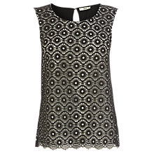 Buy Oasis Geo Lace Shell Top, Black Online at johnlewis.com