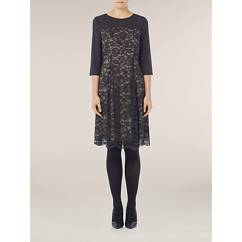 Buy Kaliko Contrast Lace Skater Dress, Grey Online at johnlewis.com