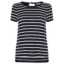 Buy Oasis Scallop Stripe T-shirt, Multi Blue Online at johnlewis.com
